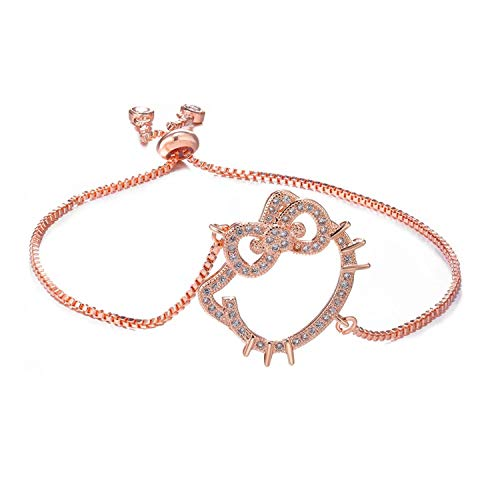 cshoushi Jewelry Cute Zircon Hello Kitty s Bracelets Copper Micro Pave Chain Bracelets for Women DIY Bracciali,Rose Gold Color - Hello Kitty Pave