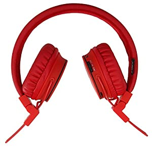 Bluetooth Volume Limiting Kids Headphones,Sodee Wireless/Wired Stereo Over-ear HD Headset with Share Port SD Card FM Radio In-line Volume Control Microphone for Children Adults(Red)