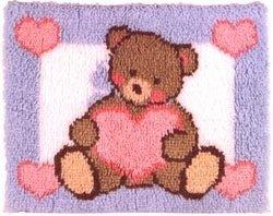 Bear Hook Pillow Latch (Wonderart 20 Inch x27 Inch Latch Hook Kit-Teddy)