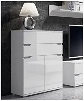Furniturefactor Aspire White Gloss Tall Sideboard Storage Unit (P9RXAS01) by : gloss white storage unit  - Aquiesqueretaro.Com
