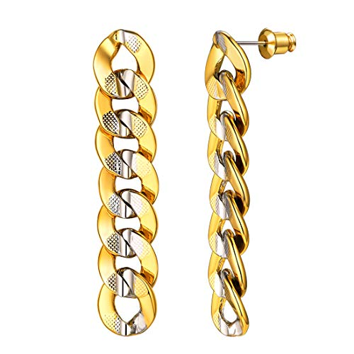 U7 Unique 9MM Platinum and Gold Tone Cuban Link Chain Dangle Earrings for Men and Women