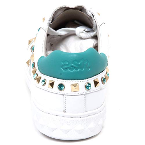 Donna Ash Woman White Scarpe Bianco Borchie Turchese Turquoise E8744 Sneaker Play Shoe gZZEqHw