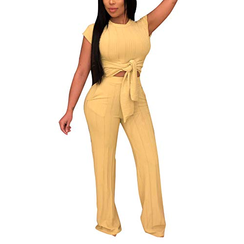 - Women's Sexy 2 Piece Outfits - Short Sleeve Crop Top Wide Leg Pants Set Sweater Jumpsuits Yellow S