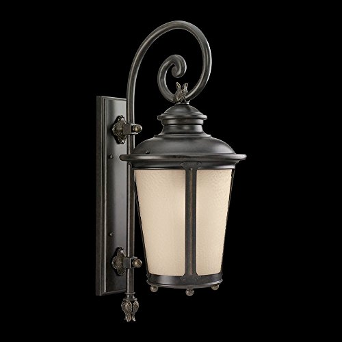 242-780 Outdoor Sconce with Etched Hammered with Light Amber Glass Shades, Burled Iron Finish (780 Sea Gull Lighting)
