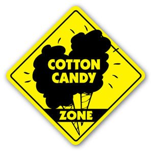 COTTON CANDY ZONE Sign Decal cart concession machine fair carnival candy foodie eat (Carnival Man With Direction Sign)