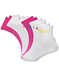 Kids 6 Pack Quarter Cut Socks with Swoosh Logo (6 Pairs)