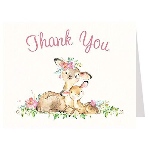 Mommy and Me Deer Baby Shower Thank You Cards Watercolor Sprinkle Folding Notes Oh Deer Stationary Watercolor Woodland Friends Forest Animals Pink Girls It's A Girl Thanks (50 count)