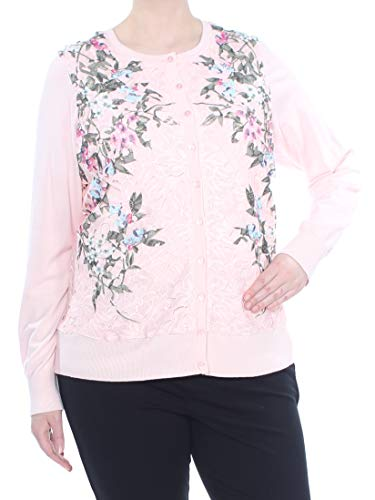 Charter Club Womens Plus Lace Floral Print Cardigan Sweater Pink 2X from Charter Club