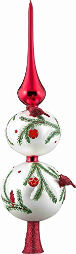 Joy To The World Glitterazzi Red Cardinal Bird Finial Polish Glass Christmas Tree Topper 16 Inch - World Finials