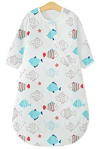 - luyusbaby Baby Sleep Sack 4 Layered Cotton Gauze Long Sleeves Wearable Blankets Detachable,fishs,75cm