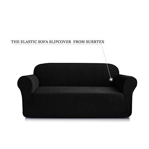 Subrtex 1-Piece Spandex Stretch Sofa Slipcover (Sofa, Black)