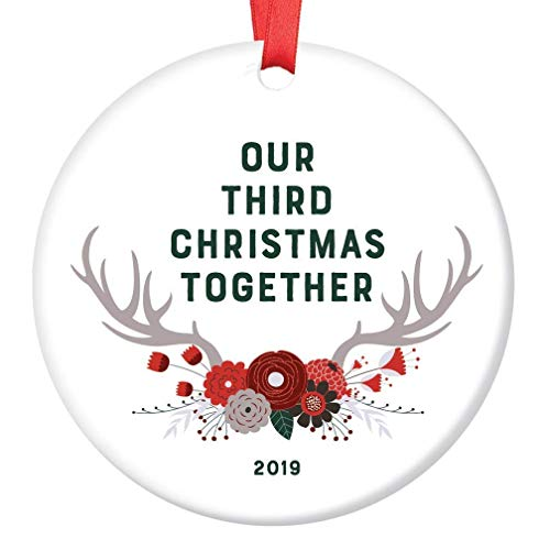 3rd Christmas Together Ornament 2019 3 Years Dating Keepsake Tree Decoration Gift Partner Girlfriend Boyfriend Country Antlers Burgundy Floral Xmas Decor Glossy Ceramic 3