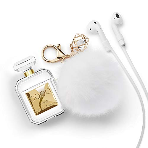 Lastma AirPods Case Perfume Bottle Case Silicone Soft Shockproof AirPods 2 Case Cover with Cute Fur Ball Keychain Strap Design for Girls and Women - Perfume - Medium Case Soft