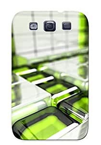 Yellowleaf Premium Protective Hard Case For Galaxy S3- Nice Design - 3d Green Glass Grid