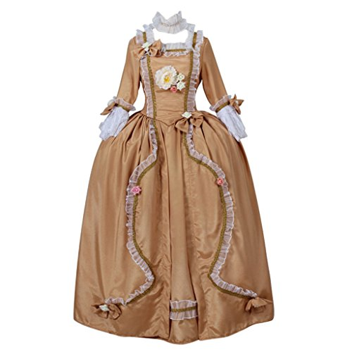 Colonial Ball Gown Costumes (CosplayDiy Women's Rococo Medieval Aristocrat Ball Gown Victorian Yellow Dress S)