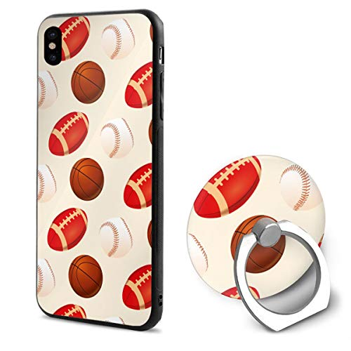 Apple iPhone Xs Case/iPhone X Case + Finger Ring Stand Holder 360 Degree Rotating Combo Set - Baseball Rugby (Barton Rugby)