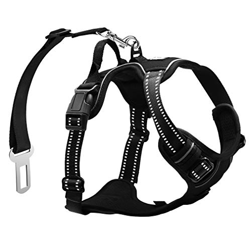 PHILWIN Large Dog Harness, No-Pull Vest Harness with Safe Belt, Reflective & Adjustable, Breathable Oxford Material, Easy Control for Outdoor Walking For Sale