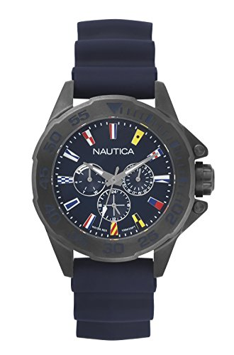 Nautica Men's 'MIAMI' Quartz Stainless Steel and Silicone Casual Watch, Color:Blue (Model: NAPMIA004)