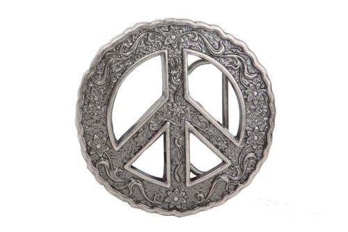 - Round Perforated Floral Engraving Peace Sign Belt Buckle Color: Antic Silver