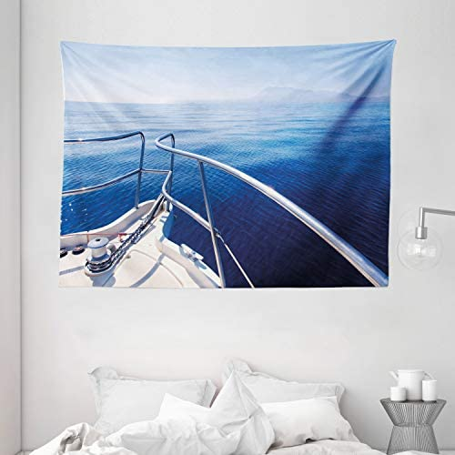 Ambesonne Navy Tapestry, Boat Show Ocean Sea Life with Ship Yacht Landscape of Islands Image Photo, Wall Hanging for Bedroom Living Room Dorm, 80 W X 60 L Inches, Navy Blue and White