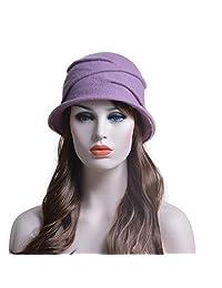 Lawliet Womens 100% Wool Pure Color Winter Warm Wrinkle Cloche Bucket Hat T175