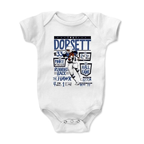 500 LEVEL's Tony Dorsett Baby Onesie 6-12 Months White - Vintage Dallas Football Baby Clothes - Tony Dorsett Stats B