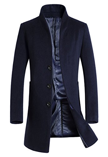 Lavnis Men's Trench Coat Long Wool Blend Slim Fit Jacket Overcoat Size Thin Style Style 2 Navy Blue L