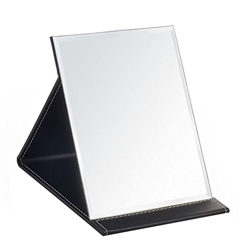 JOLY Protable PU Leather Mirror Folding Desktop Makeup Mirror with Adjustable Stand - Bathroom Shaving Foam Mirrors