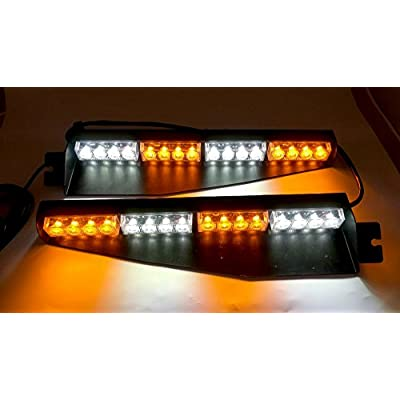 TASWK 32LED 32W LED Lightbar Visor Light Windshield Emergency Hazard Warning Strobe Beacon Split Mount Deck Dash Lamp (Amber and White): Automotive