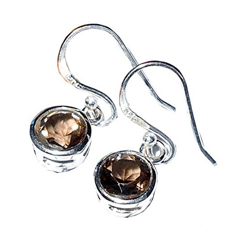 Sitara Collections SC10414 Sterling Silver Earrings, Faceted Smoky