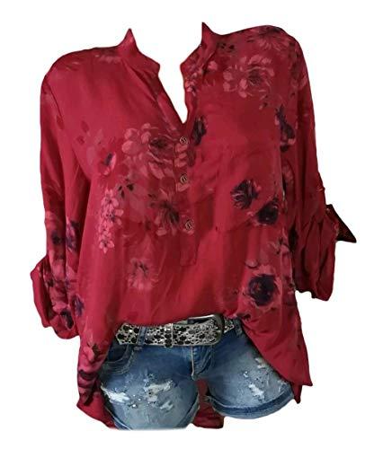 Donna Forti Blusa Rosso Eleganti Baggy Modello Ragazza Casual Bluse Shirts A Taglie Primaverile Autunno Chic Camicetta Neck Tops V Lunghe Maniche Fiore Camicia dZBwEwqx