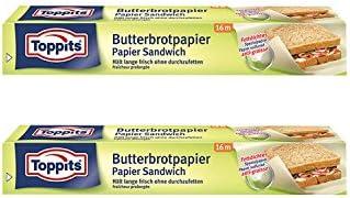 Toppits Butterbrotpapier (28cm x 16m), 2er Pack (2 x 16 Meter)