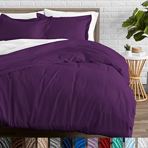 Bare Home Duvet Cover and Sham Set - King - Premium 1800 Ultra-Soft Brushed Microfiber - Hypoallergenic, Easy Care, Wrinkle Resistant (King, Plum) (Duvet Cover Plum King)