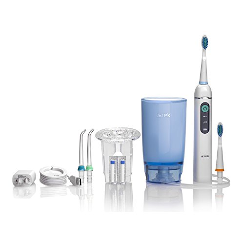 Jetpik JP200 Home – Rechargeable Electric Dental Flosser Oral Irrigator with Pulsating Floss + Water Jet Pik Power and Sonic Toothbrush