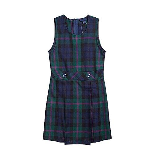 Colyanda Girl's Plaid Jumper Slim Fit Strap Dress Green M