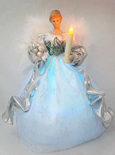 Cosette Christmas Timed Angel Tree Topper Porcelain Dolls Light 12-Inch Gold Silver & Red