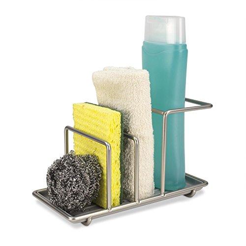 Home Basics Kitchen Sink Caddy Station, Sponge and Soap Holder, 3 Compartment Organizer, Satin Nickel