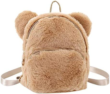 f/ür Kinder OneMoreT Mini-Rucksack mit niedlichen B/ärenohren Schule Kindergarten grau M/ädchen Kunstfell-Fleece