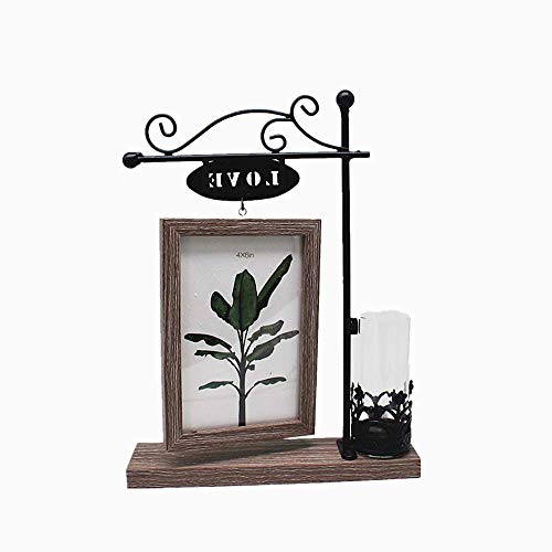 Moms Glass Photo Vase - leyoubei Black Metal Love Rectangular Double-Sided Picture Frame Holds 2 pcs 4x6 inch Vertical Pictures with Glass Front for Desk,with Hydroponics or Artificial Plants Glass Vase-Wedding (Gray -A)