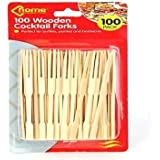 100 Wooden Cocktail Forks Sticks For Bar Party Wedding Buffets Appetizer BBQ ETC