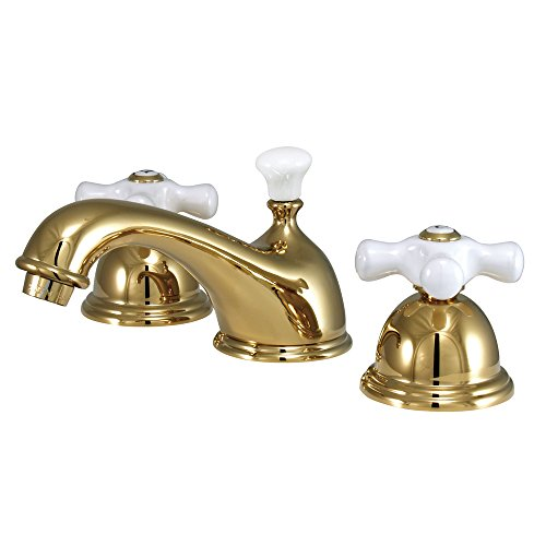 Kingston Brass KS3962PX Restoration Widespread Lavatory Faucet with Porcelain Cross Handle, Polished Brass