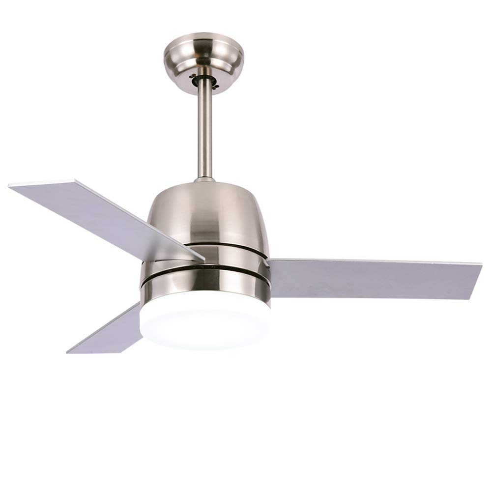 OCSEVE 36'' Ceiling Fan LED Light Kit Remote Control, Flush Mount Brushed Nickel 3 Blades Ceiling Fan with Light for Indoor Bedroom by OCSEVE (Image #1)