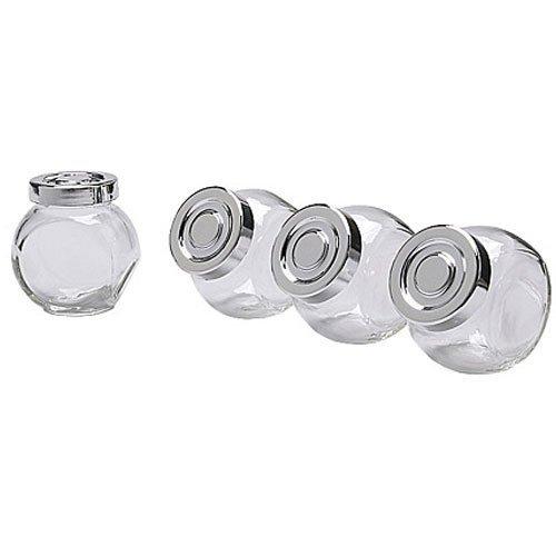 Premier Kitchen ~ Set of 3-Pack Small Mini Spice Jars Set, Glass, Aluminum Color Lid