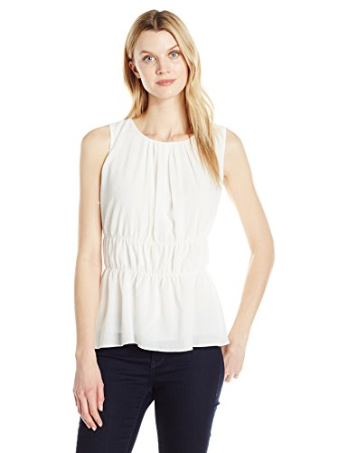 Ellen Tracy Women's Shirred Shell, Cream, XL
