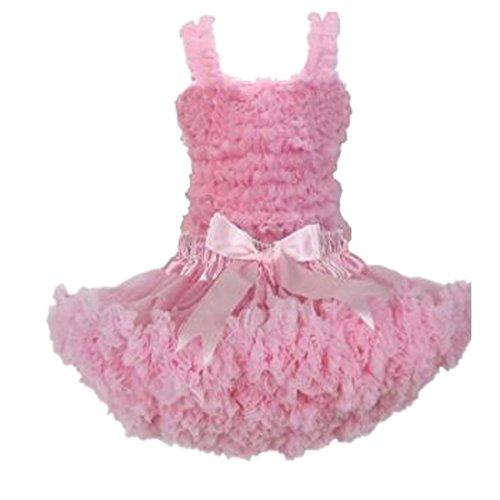[Buenos Ninos Girl's Pure Chiffon Dance Pettiskirt Tutu Set Various Color Pink 1-2T] (Companies Make Dance Costumes)