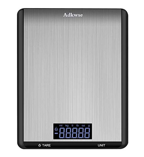 Adkwse Digital Kitchen Scale, Multifunction Food Scale with Large Black-lit LCD Display, Ultra Slim Electronic Weight Scale for Cooking, Baking, Food Grade Stainless Steel Platform, 22lb 10kg (Black)