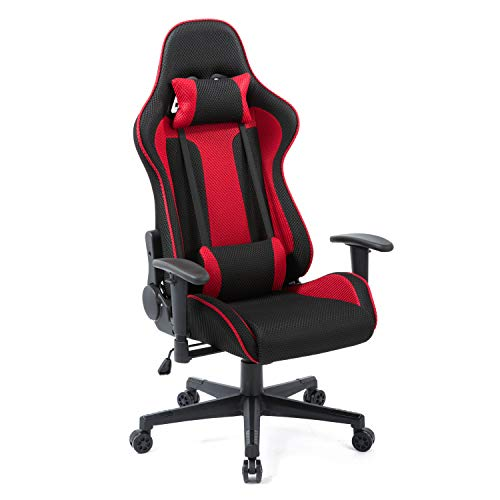 Gaming Chair Racing High-Back Mesh Office Chair Ergonomic Backrest and Seat Height Adjustment Computer Desk Chair Executive and Ergonomic Style Swivel Chair with Headrest and Lumbar Support – Red