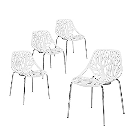 Incredible Buschman Set Of Four White Birds Nest Birch Sapling Chromed Legs Dining Chairs Unemploymentrelief Wooden Chair Designs For Living Room Unemploymentrelieforg
