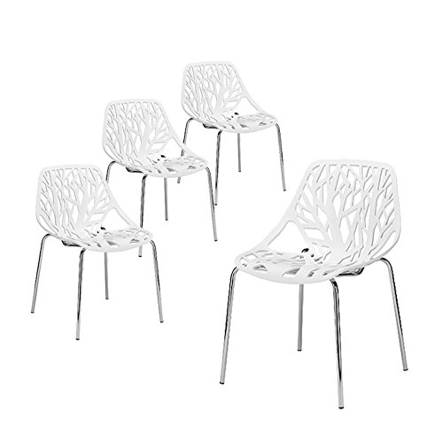 Buschman Set of Four White Birds Nest (Birch Sapling) Chromed Legs Dining Chairs