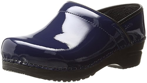 Denim Leather Clogs (Sanita Women's Professional Patent Clog Work Shoe, Denim, 39 EU/8/8.5 M US)